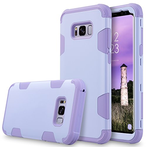 UrbanDrama Case for Galaxy S8, 3 in 1 Drop-Protection Hard PC & Soft Silicone Combo Defender Heavy Duty Rugged Shockproof Bumper Full-Body Protective Case for Samsung Galaxy S8 5.8, Purple