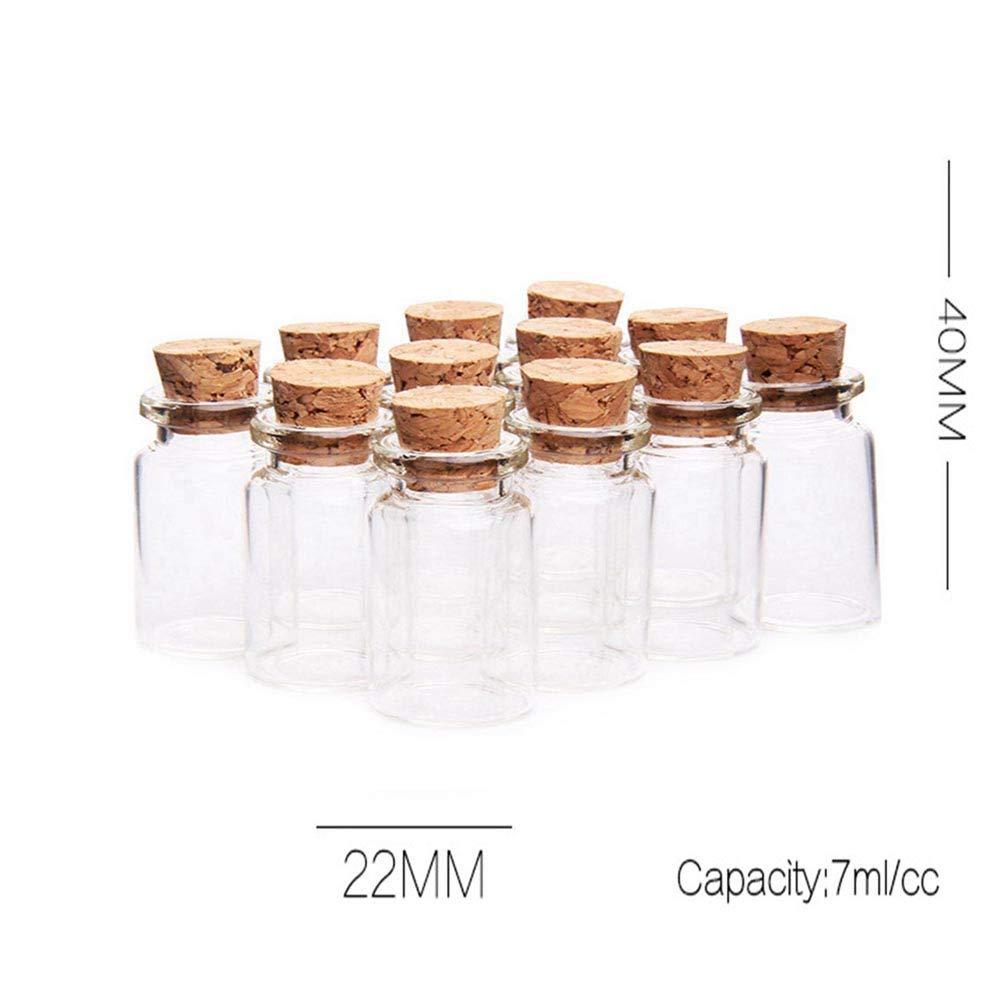 Fiesta Cotigo- 24 Piezas Mini Frascos con Tapones de Corcho, Pequeña Tarros de Vidrio,Bote de cristal para aromas,especias,boda,comunión,mensaje,recuerdo de ...