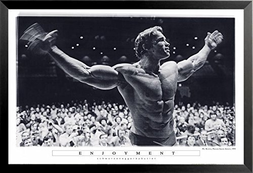 - Buyartforless Framed Enjoyment - Arnold Schwarzenegger Mr Olympia Madison Square Garden 36x24 Photograph Art Print Poster Pumping Iron