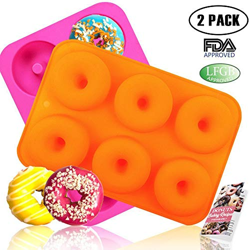 HEHALI 2pcs 6-Cavity Silicone Donut Baking Pan/Non-Stick Donut Mold with Recipe, Dishwasher, Oven, Microwave, Freezer Safe ()