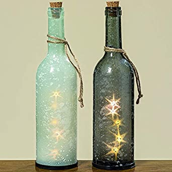 2 Stk Led Flasche 30cm Gross Schneeflocken Sterne Glas Klar Hellblau
