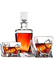 Doctor Hetzner 10-Piece Whiskey Decanter Set of Crystal Whiskey Glasses, Whiskey Stones, Stainless Steel Tray and Tongs