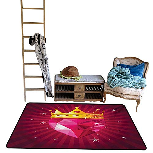 Ediyuneth Home Carpet Floor Mat Diamond,Crystal Love Heart Diamond Wearing Crown Princess Queen on Radial Background,Pink and Yellow.jpg 55