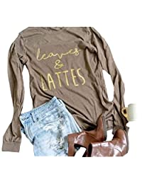 NANYUAYA Women Leaves and Lattes Fall Funny Letter Print Long Sleeve Casual T-Shirt