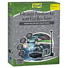 Tetra Pond FK5 Filtration Fountain Kit is ideal for small to mid-size preformed ponds from 50-250 gallons. Fountain assembly includes three fountain heads (frothy, spray, and bell pattern), swivel adjuster for leveling fountain heads, and div...