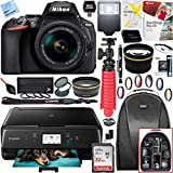 Nikon D5600 24.2MP DX-Format Digital SLR Camera w/ AF-P 18-55mm f/3.5-5.6G VR Lens Kit and Canon Pixma MG3620 Wireless Inkjet All-In-One Multifunction Photo Printer 64GB Accessory Bundle