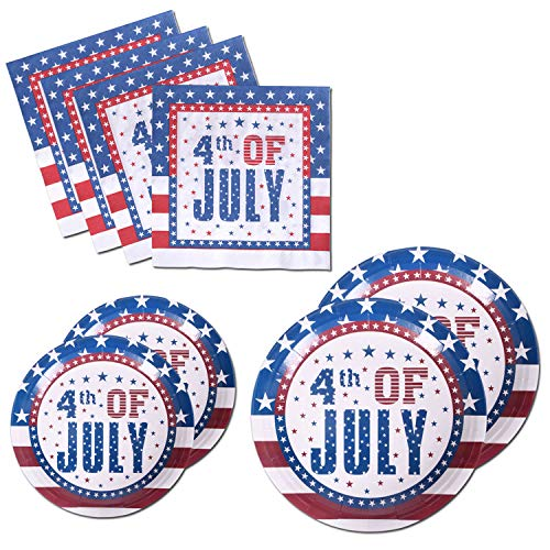 200PCS Patriotic 4th of July Party Supplies Paper Plates and Napkins Bulk 9 inch 7 inch Dessert Round Disposable Plates Eco Friendly Party Tableware Set (for 4th of July)]()