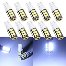 Grandview 350 Lumens T10 LED Cool White 42-SMD 1206 T10 W5W LED Bulbs Super Bright 194 168 2825 Wedge Replacement Lights Side Marker Interior Dome RV Light 12V 10-Pack