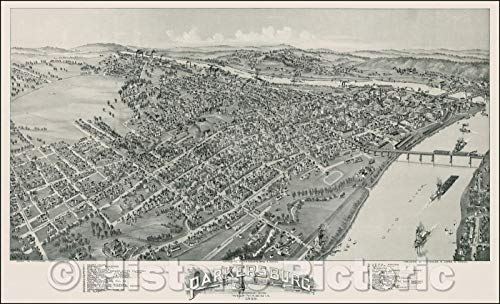 (Historic Map   Parkersburg West Virginia, 1899, T.M. Fowler v3 44in x 27in)