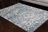 Paris Collection Oriental Carpet Area Rug Blue Cream Grey Grey 5055grey 2x8 2'2x7'2