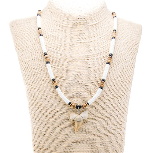 - BlueRica Shark Tooth Pendant on Puka Shell Beads, Tiger & Black Coconut Beads Necklace (3S)