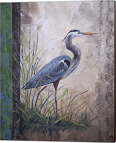 in The Reeds - Blue Heron by Jean Plout Canvas Art Wall Picture, Museum Wrapped with Espresso Sides, 16 x 20 inches (Picture Heron Blue)