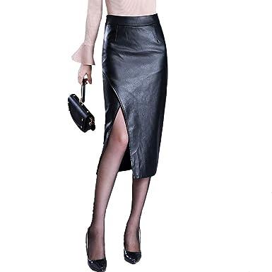 WL Falda Mujer, Faldas Cuero del Faux Longitud de la Rodilla ...