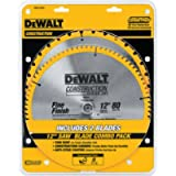 DEWALT DW3128P5 Series 20 12-Inch 80 Tooth and 12-Inch 32T ATB Thin Kerf Crosscutting Miter Saw Blade with 1-Inch Arbor…