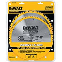 DEWALT DW3128P5 80 Tooth and 32T ATB Thin Kerf 12-inch Crosscutting Miter Saw Blade, 2 Pack