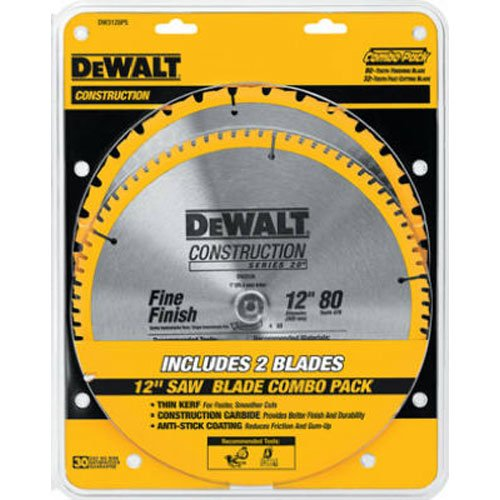 DEWALT DW3128P5 80-Tooth 12 in. Crosscutting Tungsten Carbide Miter Saw Blade - 2 Pack