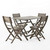 Vicaro Outdoor Wood Patio Furniture Grey 5 Piece Folding Dining Set