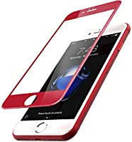 TOZO for iPhone 7 3D Screen Protector Glass [ 3D Full Frame ] Technology Premium Tempered 9H Hardness 2.5D PET [Soft Edge Hybrid] Perfect Fit Screen 4.7 Red by TOZO