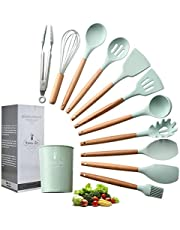 UniForU Silicone Cooking Utensils Kitchen Utensil Set with Natural Wooden Handles Nonstick Spatula Spoon Colander Kitchen Tool Turner Tongs 11Pcs