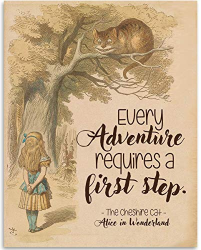 Cheshire Cat - Every Adventure Requires A First Step - 11x14 Unframed Typography Book Page Print - Great Gift for Book Lovers, Also Makes a Great Gift Under $15 ()