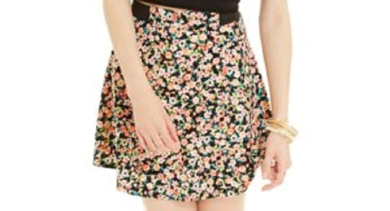 ba11b684a4f37 Material Girl Juniors' Printed Skater Skirt, Floral Multi good ...