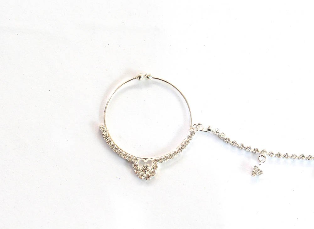 Silver Nose Ring Hoop Chain For Non-Pierced Nose/Bollywood Indian Bridal Nose Ring