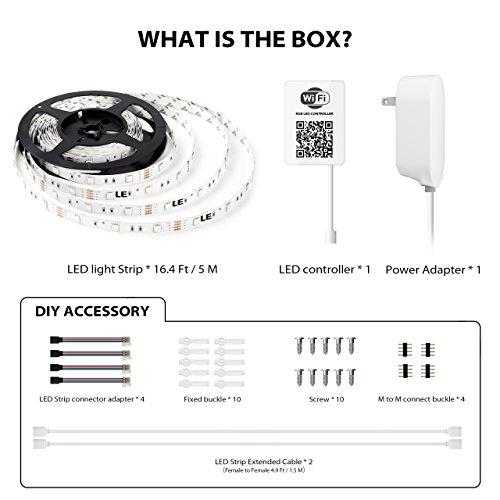 Luces de tira LED Compatible con Alexa, Maxonar Wifi Kit de tira de luz LED con RGB Multicolor Impermeable IP65 Luz de tira Teléfono inteligente inalámbrico Controlado Kit de bricolaje funciona Amazon echo Página principal de Google (16.4 Ft)