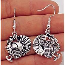 925 Silver Plated Hook -1.7'' Cool Turkey Rooster Hat Retro Silver Earrings #17