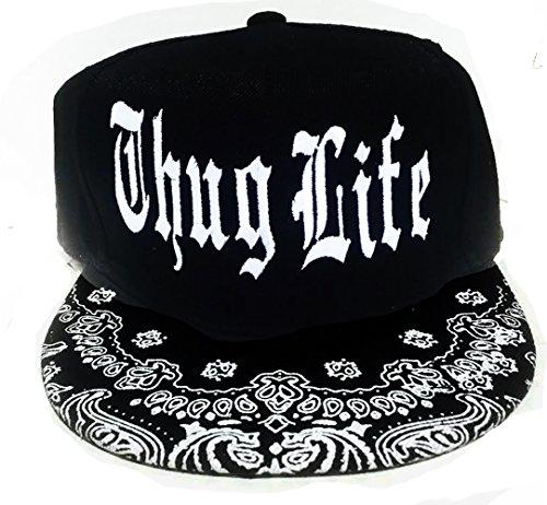 SHOPUS | Thug Life Black and White Snapback Hat Flat Bill