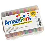 Arts & Crafts : Gel Pens - Mini 20 Glitter Pack with Maxi Ink & Carry Case Ideal Stocking Stuffers for Kids Best for Purse or School Bag Perfect Gift for Portable Coloring and Instant Inspiration
