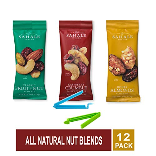 Sahale Snacks All Natural Nut Blends Grab And Go Variety of 3 Flavors ( Classic Fruit + Nut, Honey Almond Glazed, Raspberry Crumble ) Pack of 12 with Free Snack Clips