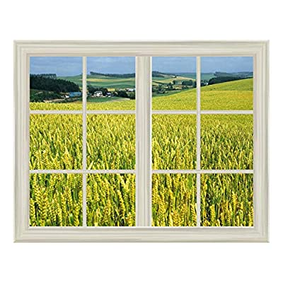 Ripe Yellow Wheat Field Window View Mural Wall Sticker, Made With Top Quality, Gorgeous Visual