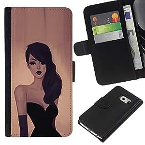 YiPhone /// Tirón de la caja Cartera de cuero con ranuras para tarjetas - Mujer Elegante - Samsung Galaxy S6 EDGE