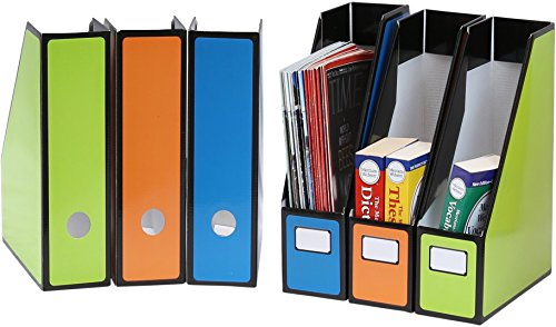 6 Pack - SimpleHouseware Premium Document File Magazine Holder Organizer, 3 Colors