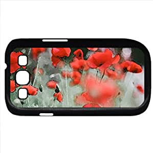 Red poppies (Flowers Series) Watercolor style - Case Cover For Samsung Galaxy S3 i9300 (Black)