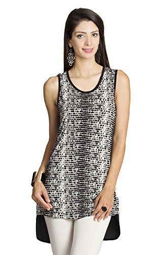 MOHR Women's Sleeveless Shirt with Printed Front Large Off White by MOHR - Colors of India