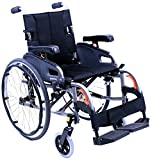 Karman Healthcare Ultra Lightweight Adjustable Wheelchair, Diamond Black, 18''x16''