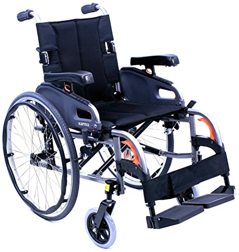Karman Healthcare Ultra Lightweight Adjustable Wheelchair, Diamond Black, 18