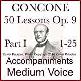 Concone 50 Lessons Op. 9, Part I (1-25) Accompaniments for Medium Voice: more info