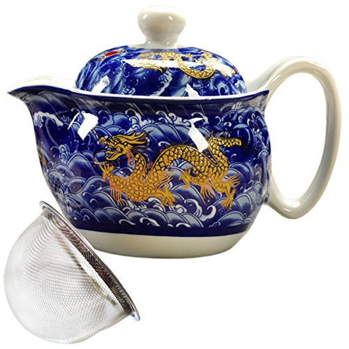 BandTie Convenient Travel Home Office Loose Leaf Chinese Gongfu Tea Brewing System-Blue and White Porcelain Teapot Ceramics Tea Pot with Stainless Steel Tea Infuser Strainer,Blue Dragon Pattern
