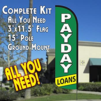 PAYDAY LOANS (Green/White) Windless Feather Banner Flag Kit (Flag, Pole, & Ground Mt)