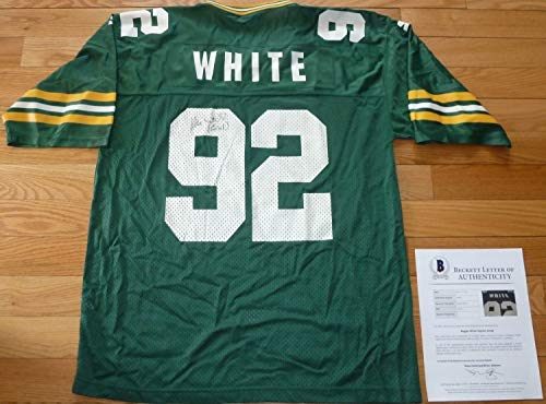 (Beckett-Bas Reggie White Green Bay Packers Autographed Signed-Autographed Signed Vintage Jersey 017 - Certified Signature)