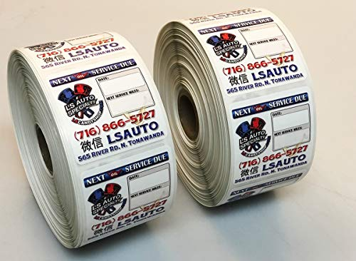 500 Full Color Custom Oil Change Reminder Stickers, Free Graphic Design, Printed on Gloss Poly for Stunning Graphics