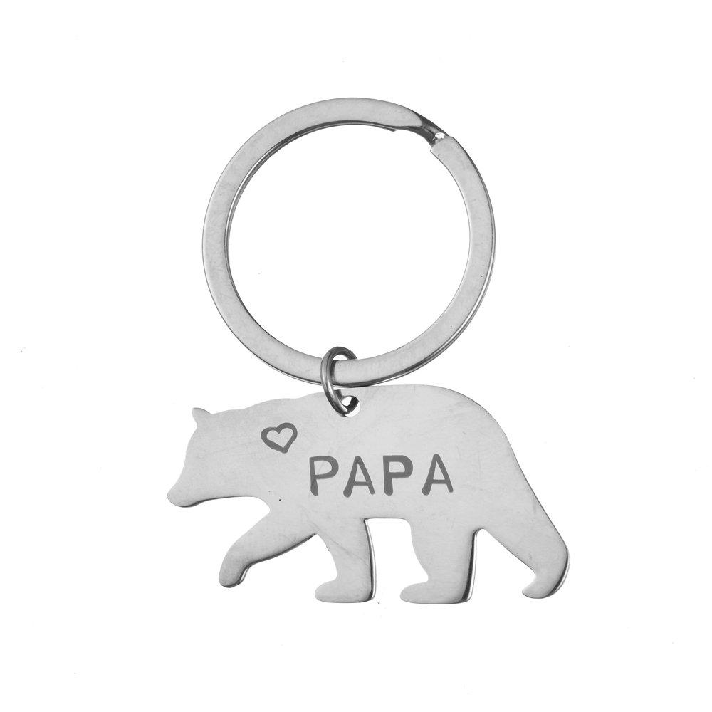 Porte-cl/és Papa Bear et ourson en porte-cl/és en acier inoxydable