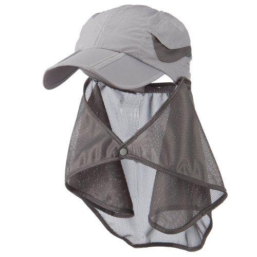 UV 50+ Folding Bill Cap with Detachable Flap - Grey OSFM