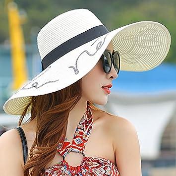 SunJin Sombrero de Verano Femenina Seaside Sunscreen, Plegado de Rayos ultravioletas Grandes Aleros Playa Hat SUNCAP Vacaciones excursión Sombrero de Paja,M ...