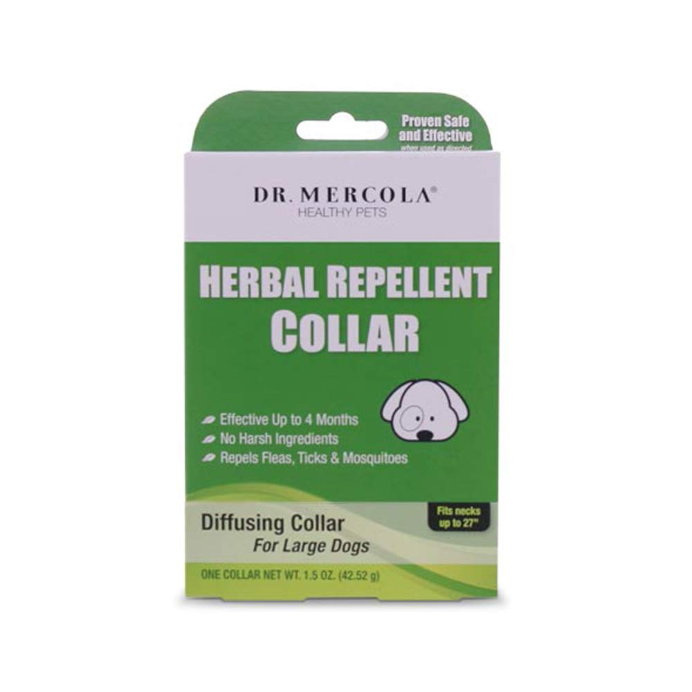 Dr. Mercola Herbal Repellent Collar For Large Dogs with Natural Active Ingredients, Long-lasting Flea Prevention - Odorless, Safe and Waterproof Flea Collars Effective Up To 4 Months, Necks up to 27''