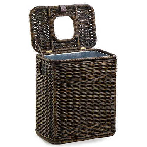 The Basket Lady Drop-in Wicker Rectangular Trash Basket with Metal Liner, One Size, Antique Walnut Brown (Wicker Baskets Antique)