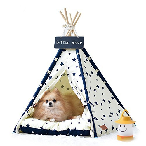 Cheap little dove Pet Supplies Canvas Star Style Pet Teepee and Kennels Dog Play House Play Tent Cat Bed 24 Inch Whth Thick Cushion