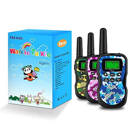 Huaker Kids Walkie Talkies,3 Pack 22 Channels 2 Way Radio Toy with Flashlight and LCD Screen,3 Miles Range Walkie…